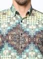 Daffari Desenli Uzun Kollu Gömlek Lacivert